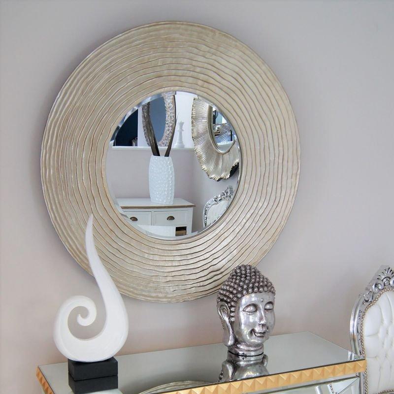 Duże Lustro Okrągłe Szampańska Rama Fp108 Impresje24pl