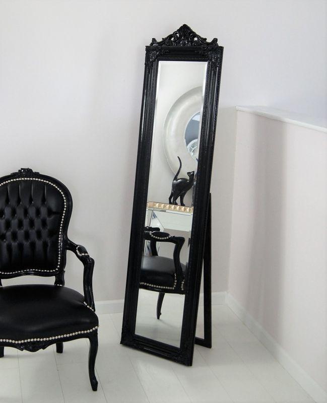 Świeże Lustro stojące, czarna, drewniana rama, ornamenty. - XR3675B QQ46
