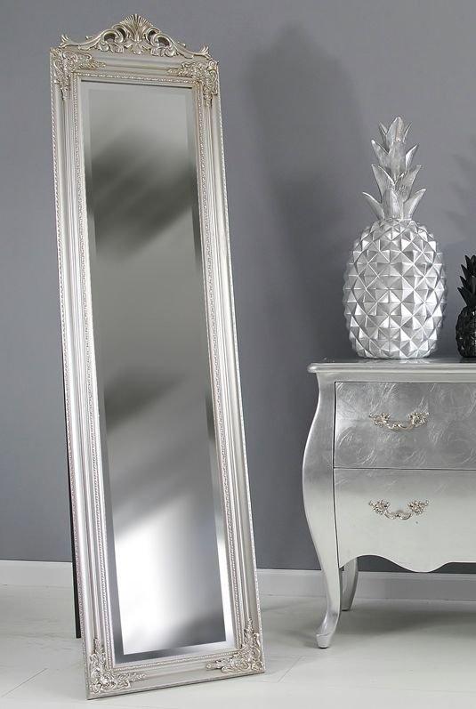 Oryginał Lustro stojące, srebrna rama, styl glamour. - XR3675S - Impresje24.pl TU19