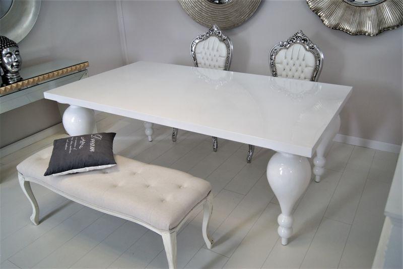 Stół Do Jadalni Piękne Toczone Nogi Wysoki Połysk Biały